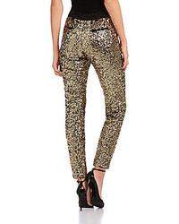 Pantalones pitillo de lentejuelas dorados