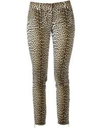 Pantalones pitillo de leopardo marrón claro