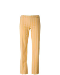 Pantalones pitillo de rayas verticales amarillos de Romeo Gigli Vintage