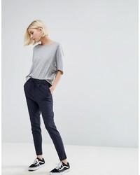Pantalones pitillo de rayas verticales azul marino de Only