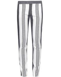 Pantalones pitillo de rayas verticales blancos