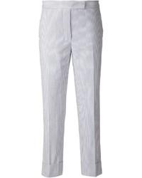 Pantalones pitillo de rayas verticales en blanco y azul marino de Thom Browne