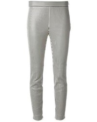 Pantalones pitillo de rayas verticales en blanco y negro