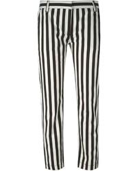 Pantalones pitillo de rayas verticales en blanco y negro de Dolce & Gabbana
