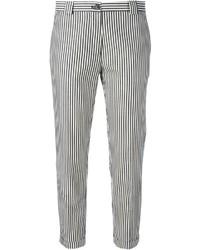 Pantalones pitillo de rayas verticales en blanco y negro de Mauro Grifoni
