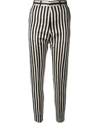 Pantalones pitillo de rayas verticales en negro y blanco