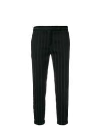 Pantalones pitillo de rayas verticales negros de Thom Browne