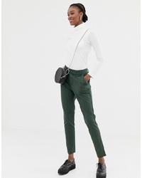 Pantalones pitillo de rayas verticales verde oscuro de Jdy