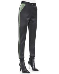 Pantalones pitillo de seda negros