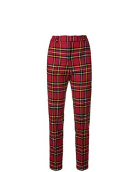 Pantalones pitillo de tartán burdeos de Ermanno Scervino