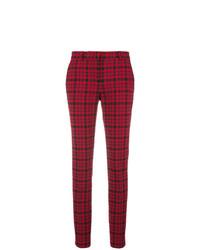 Pantalones pitillo de tartán burdeos de Philosophy di Lorenzo Serafini