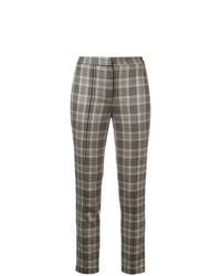 Pantalones pitillo de tartán marrónes