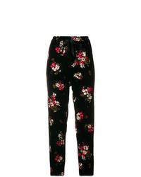 Pantalones pitillo de terciopelo con print de flores negros de Forte Forte