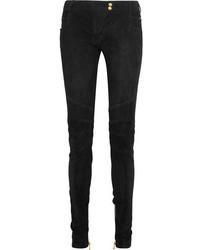 Pantalones pitillo de terciopelo negros de Balmain