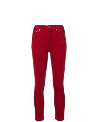 Pantalones pitillo de terciopelo rojos de Rag & Bone