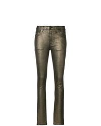 Pantalones pitillo dorados de Saint Laurent