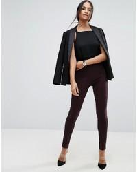 Pantalones pitillo en marrón oscuro de Asos