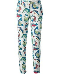 Pantalones pitillo estampados en blanco y azul de Kenzo