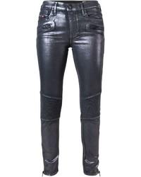 Pantalones pitillo plateados de Diesel