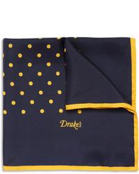 Pañuelo de bolsillo a lunares azul marino de Drakes