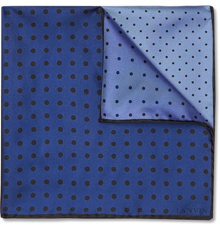 Pañuelo de bolsillo a lunares azul marino de Lanvin