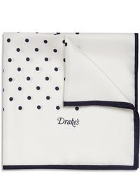 Pañuelo de bolsillo a lunares en blanco y negro de Drake's