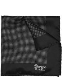 Pañuelo de bolsillo a lunares en negro y blanco de Charvet