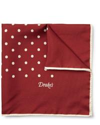 Pañuelo de bolsillo a lunares en rojo y blanco de Drakes
