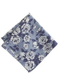 Pañuelo de bolsillo con print de flores azul marino