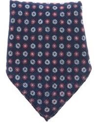 Pañuelo de bolsillo con print de flores azul marino de Ermenegildo Zegna