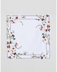 Pañuelo de bolsillo con print de flores blanco de Asos