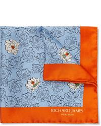 Pañuelo de bolsillo con print de flores celeste de Richard James