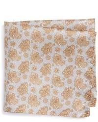 Pañuelo de bolsillo con print de flores marrón claro