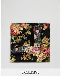 Pañuelo de bolsillo con print de flores negro de Reclaimed Vintage