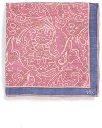 Pañuelo de bolsillo con print de flores rosado