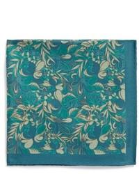 Pañuelo de bolsillo con print de flores verde oscuro