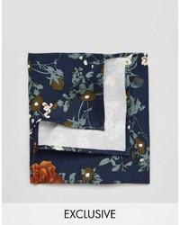 Pañuelo de bolsillo de algodón con print de flores azul marino de Reclaimed Vintage