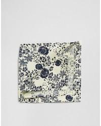 Pañuelo de bolsillo de algodón con print de flores blanco de Asos