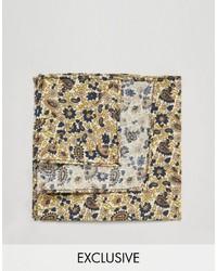 Pañuelo de bolsillo de algodón con print de flores marrón claro de Reclaimed Vintage