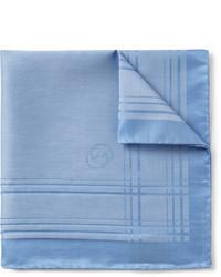 Pañuelo de bolsillo de algodón de tartán celeste de Gucci
