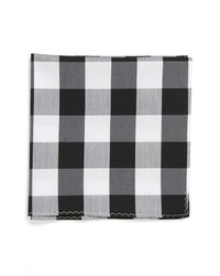 Pañuelo de bolsillo de algodón de tartán en blanco y negro