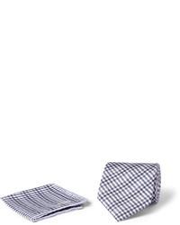 Pañuelo de bolsillo de algodón de tartán gris