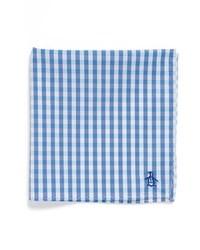 Pañuelo de bolsillo de cuadro vichy en blanco y azul