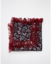 Pañuelo de bolsillo de lana de paisley burdeos de Asos
