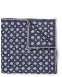 Pañuelo de bolsillo de lana estampado azul marino