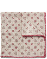 Pañuelo de bolsillo de lana estampado en beige de Brunello Cucinelli