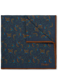 Pañuelo de bolsillo de paisley azul marino de Drake's