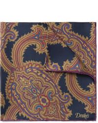 Pañuelo de Bolsillo de Paisley Azul Marino de Drakes