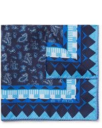 Pañuelo de bolsillo de paisley azul marino de Etro
