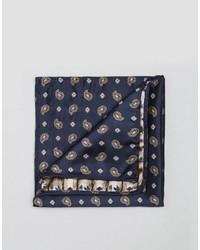 Pañuelo de bolsillo de paisley azul marino de Reclaimed Vintage
